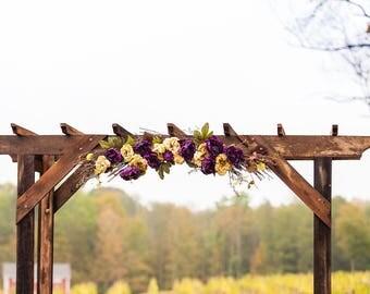 Country Rustic Farmhouse Floral Swag Wedding Arch Arrangement