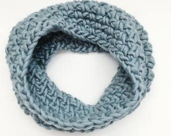 Chunky Crochet Wool Cowl x The Luxury Cowl in Ice Blue - Ready to Ship