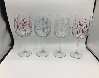 Set Of 4 Hand Painted Glasses - Berries Berry - Classic Wine Handpainted Glass Glassware