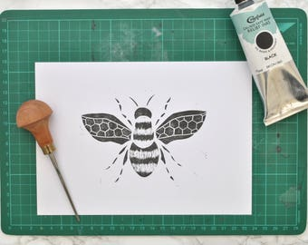 Bumble Bee Print Stocking Filler Small Gift A5 Lino Printed