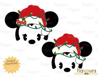 Minnie And Mickey Christmas Lights - Disney Christmas - INSTANT DOWNLOAD - For Cutting - Only SVG Files