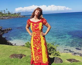 Vintage HAWAIIAN HANDMADE Ruffled Floral Maxi Dress 60's/70's