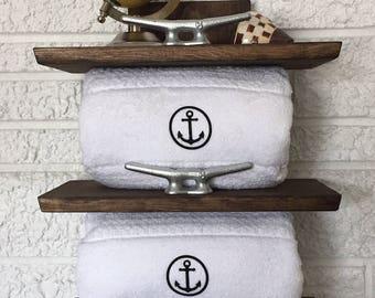 Nautical Towel Rack, Coastal Storage, Beach Decor, Bathroom Shelf, Restroom Powder Room Storage Solution