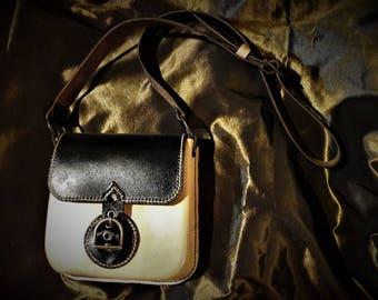 Bicolor leather satchel
