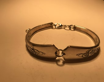 Vintage Bracelet Made With Silver Plated Flatware With Lovely Floral Pattern