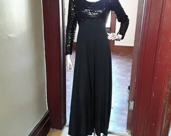 Long Black Sequin top dress