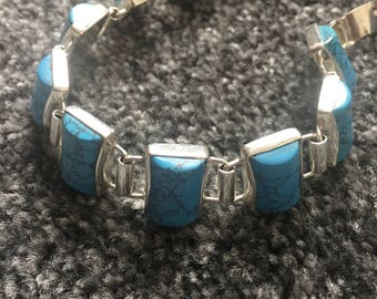 silver bracelet, turquoise