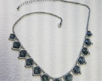 Clearance - Smokey grey and silver necklace