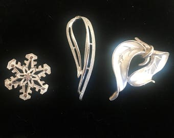 Silver Tone Brooches, 1960's