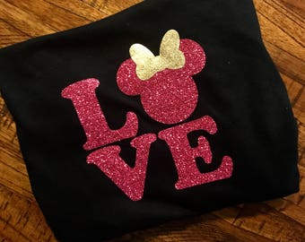 Valentines Day Love Disney Shirt + Custom Disney T- Shirt + Pink or Red sparkle + Matching shirts + Made to Order