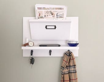 Mail Holder, Key Holder, Entryway Organizer for mail, Mail Organizer, Hanging Mail Organizer Wall, Office Decor, Command Center, Mail Sorter