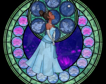 Tiana princess and the frog cross stitch digital pattern medallion stained glass kingdom hearts