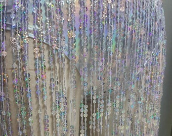Silver Glitter Waterfall Sequins Skirt - Hotpant Shorts Incorperated with Long Fringed Sequin Skirt - Hologram - Holographic