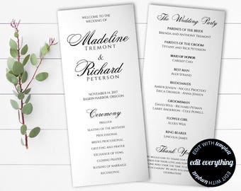Tea Length Wedding Program Template - Diy Wedding program - Order of Service Wedding Ceremony Program - Tea Length Order of Ceremony Program