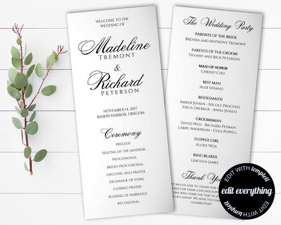 wedding ceremony itinerary template - tea length wedding program template diy wedding program