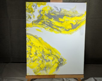 "16"" x 20"" Fluid Acrylic Abstract Painting - Yellow, Grey, White"