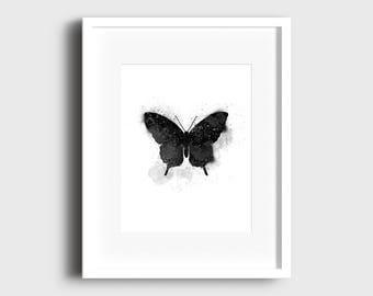 Black butterfly print, butterfly, art, wall art, poster, print, home interior