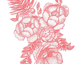 Lion hearted bouquet | Red and white floral, Spruce, pine, peony