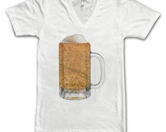 Ladies  Paris Map Beer Mug Tee, Vintage City Maps Beer Mug Tees, Beer T-Shirt, Beer Thinkers, Beer Lovers, Cities, Beer Lover Tees