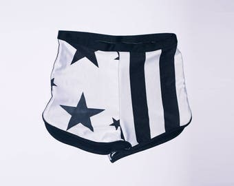 Short Hotpants Stars and stripes Spandex Vintage look Black and white high waisted Short pants stretch Spandex Vintage Black and white