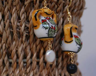 Ceramic amphora-shaped earrings-Sicilian colorful earrings-Handmade
