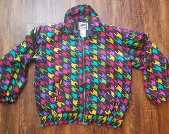 Bright Houndstooth Print Silk Jacket
