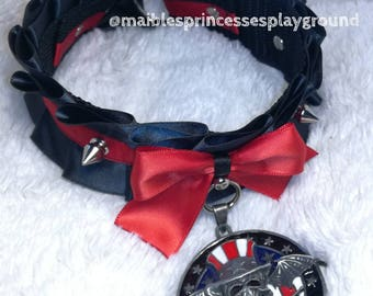 A7X collar black and red satin ribbon studs