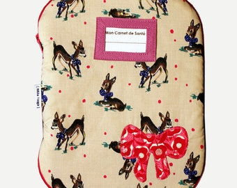 Protects health record printed Fawn with label and applying bow holder