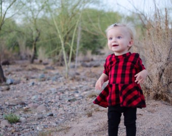 Red Buffalo Paid Peplum - Red and Black Plaid Top - Trendy Girls Shirt - Fall Peplum Top - Holiday Shirt - Trendy Baby Shirt - Woodland -