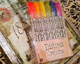 Tim Holtz Distress Crayons by Ranger  ~Set 2~ 6 ct. Crayon Set