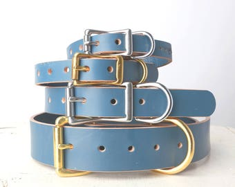 Handmade Blue Leather Dog Collar -- Classic Belt Buckle Style