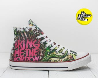 Bring Me The Horizon custom painted converse sneakers rock style shoes