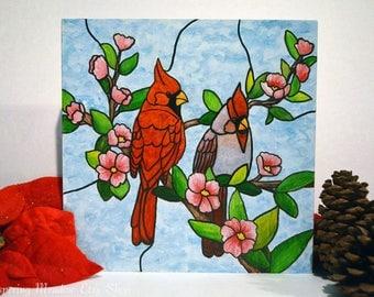 Cardinal Bird, Cardinal Art, Cardinal Decor, Christmas, Cardinal Gifts, Stained Glass, Winter Decor, Cardinals, Cardinal Lovers