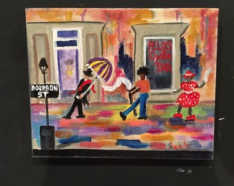 New Orleans acrylic Art, New Orleans Second Lining art