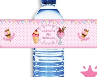 24 Personalized Ice cream birthday water bottle labels