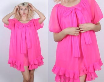 60s Hot Pink Negligee Set // Vintage Sheer Bow Peignoir Nightie Robe Short Sleeve Ruffle Slip - Medium