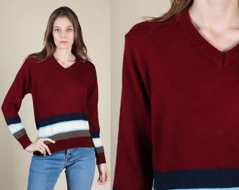 70s Striped Sweater - Small // Vintage V neck Burgundy Pullover