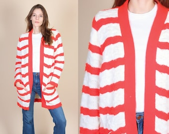 70s Oversized Cardigan - One Size // Vintage Red & White Striped Wrap Sweater