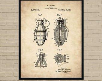 Military Gift, patent art, military decor, military art, grenade, military wall art, military gifts, military print, army wall art