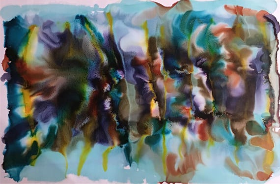 "Large Original Alcohol Ink Abstract: ""Rhythmic"" (23"" x 35"")"