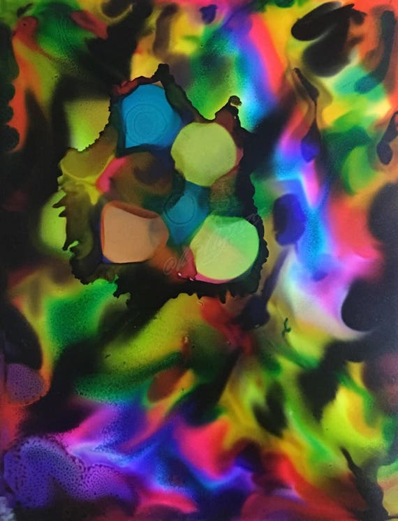 "Original Alcohol Ink Abstract Painting: ""Electric Circus"" (11"" X 14"")"