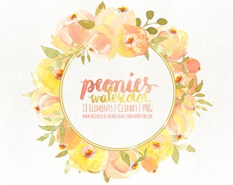 Watercolor Flowers Clipart, Flower, Floral, PNG, Clip Art, Watercolour, Wreath, Bouquet, Wedding, Peonies Peony Yellow, Heart F018