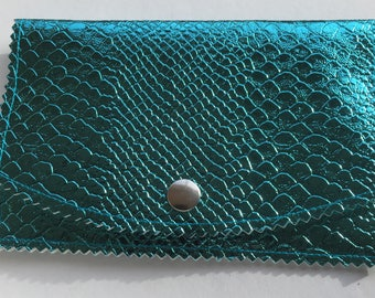 Turquoise blue snakeskin look leatherette pouch