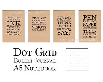 Dot Grid Bullet Journal Notebook, Choice of Quotes   Dotted Page Bullet Point Journal   A5 Kraft Notebook, Recycled Paper Bullet Planner