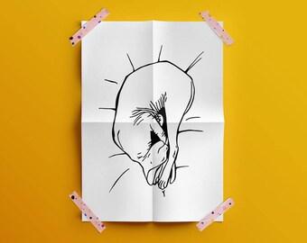 Sphynx Cat Art - Printable - Cat Yoga - Cat Sleeping - Black and White - Cute Cat - Sphynx Illustration - Cat Lover Gift - Animal Lover Gift