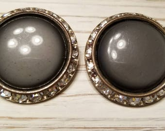 Large Button-Style Vintage Clip-On Earrings