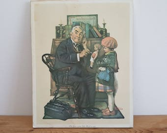 Vintage Norman Rockwell The Doctor and the Doll Painting Reproduction Litho Frame Less Print Plaque Block Mounted on Wood Wall Hanging 1972