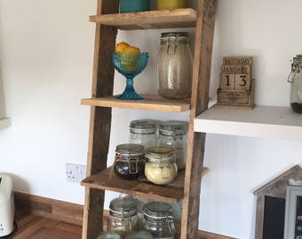 Rustic Mini Ladder Shelf: 4 shelves Pallet Wood Farmhouse