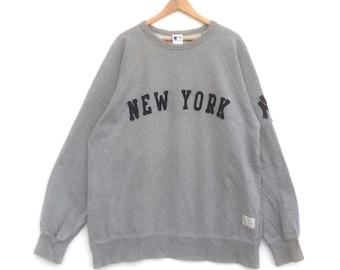 Vintage 90's New York Yankees Sweatshirt Major League Baseball Big Logo Grey Colour XL Size Jumper Pullover Sweater Shirt Jacket Sweat