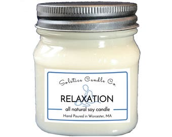 Relaxation Soy Candle | Mason Jar Candle | 8 oz | Wood Wick | All Natural | Hand Poured | Aromatherapy | Floral | Home Decor